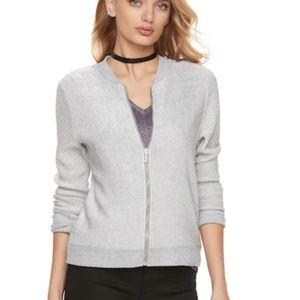 Juicy Couture Silver Shimmer Mesh Zip Up Jacket L